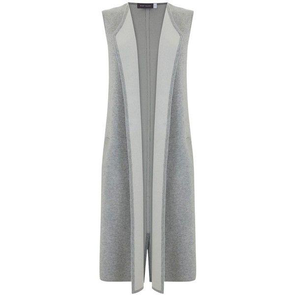 Mint Velvet Longline Waistcoat, Grey ($140) ❤ liked on Polyvore featuring outerwear, vests, mint velvet, gray vest, formal vest, long sleeveless vest and waistcoat vest
