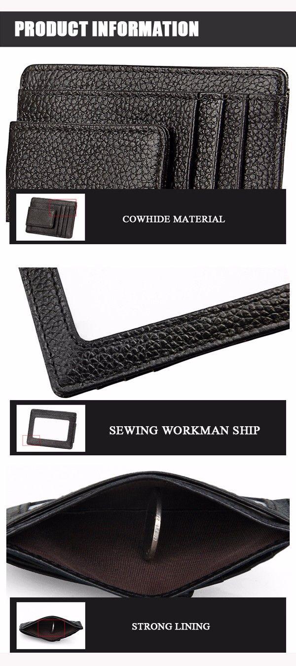 RFID Men Women Genuine Leather Wallet Credit Card Holder Magnet Money Safe Card - US$6.77
