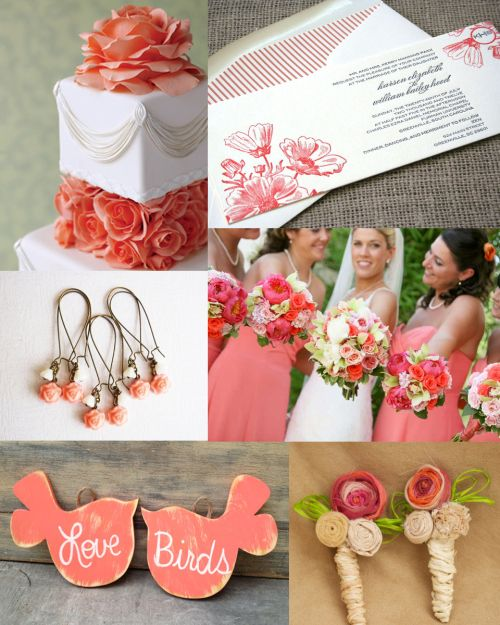 Rustic Vintage Coral Wedding Inspiration. Would love to have those birds hanging somewhere at my ceremony!