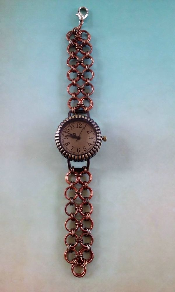 Steampunk Wrist Watch Real Copper and Bronze Rings Chainmail 6 Inch Band Fantasy #GoblinKraftsJewelry