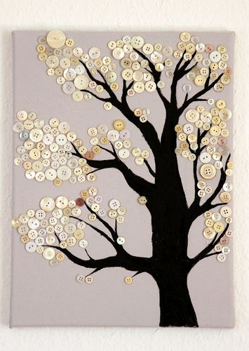 Button Tree.  Very similar to the white button tree I pinned a while back, but has even more buttons and a thicker tree trunk :)  LOVE IT!!