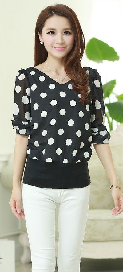 Polka dot top, black and white top, korean fashion uk, asian clothing store, korean clothing store, shop korean fashion, korean fashion tops, korean blouses, black korean top, loose fit korean top, YRB clothing polka, yrb0362, women new, arrivals