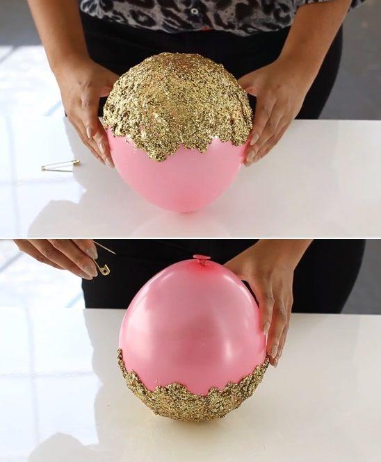 Balon + Tutkal + Simli Pullarla Dekoratif Kase