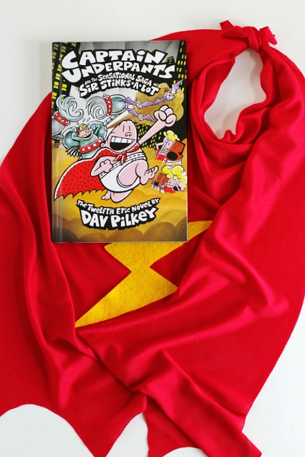 Captain Underpants Book and Superhero Cape DIY @Scholastic #PilkeyPower #ad