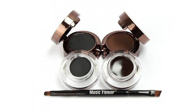 4-in-1 Gel Eyeliner and Eyebrow Powder Define your eyes with the 4-in-1 Gel Eyeliner and Eyebrow Powder      Set includes black and brown gel eyeliners and eyebrow powders      24-hour lasting with fast drying, water and smudge-proof benefits      Also includes ultra-fine eyeliner brush and eye definer brush      Precision brushes promise easy and smooth application      Ideal for both basic...