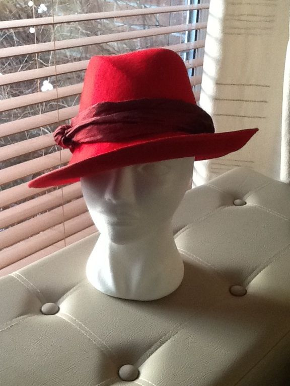 Red felt fedora blocked in two parts by Nicky Gale