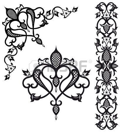 Arabian Design Motif   Pattern elements in vintage style Stock Vector