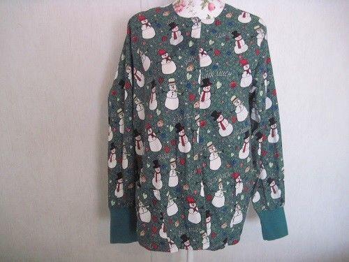 UA Scrubs Womens Scrub Jacket Size Large Snowmen 100% Cotton #UAScrubs