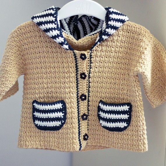 Pattern for Crocheted Sailor Hooded Cardigan.