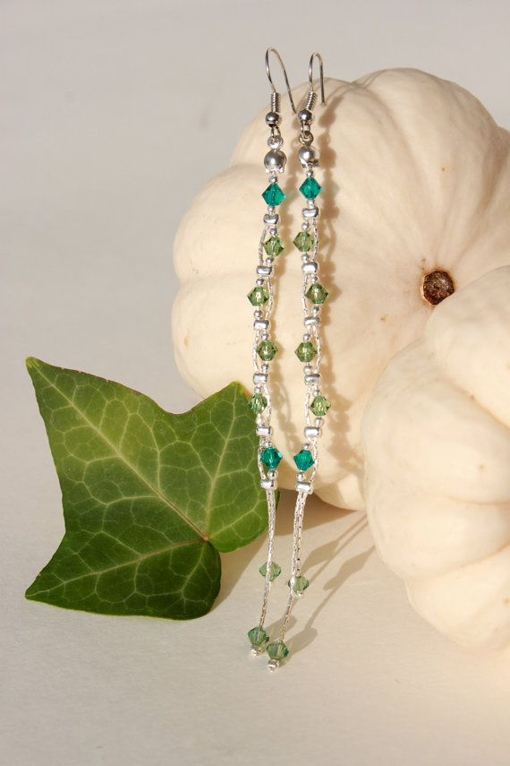GaiaDangle earringGreen Earrings Swarovski by UndercoverHippiecom
