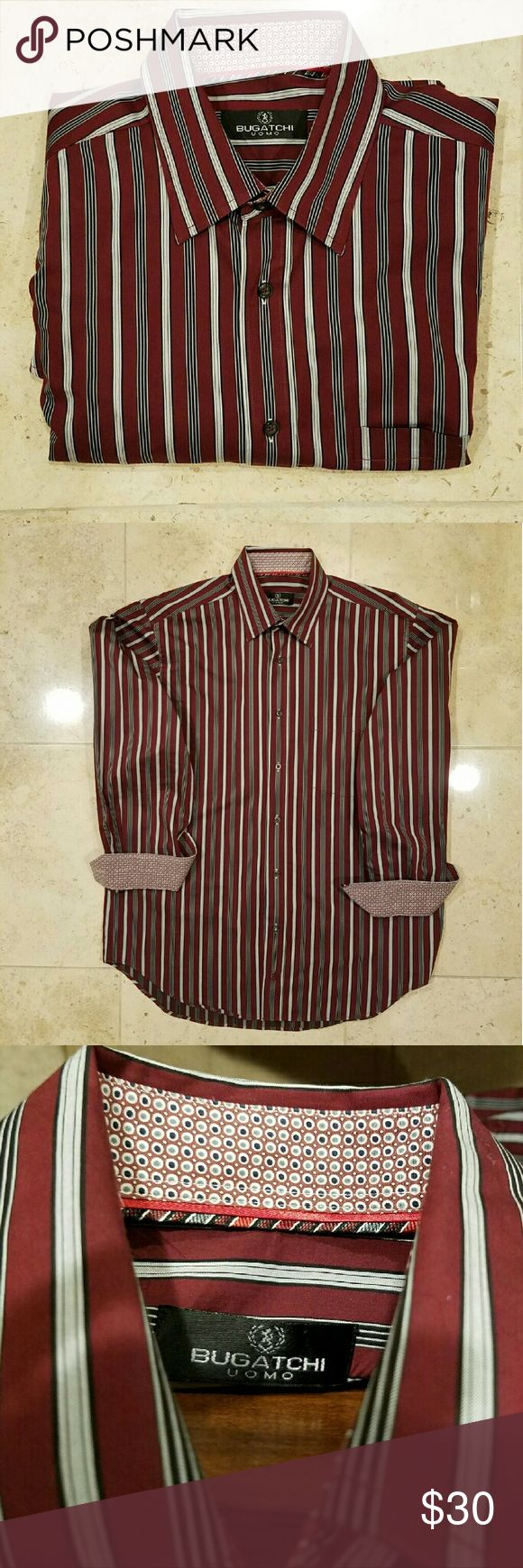 Price drop! Bugatchi Uomo casual striped shirt Bugatchi shirt, maroon with white and dark stripes. Cuffs and collar have contrasting patterns, the Bugatchi trademark. Collar buttons down with buttons hidden underneath. Size L.  100% cotton. No visible wear. EUC. Bugatchi Uomo  Shirts Casual Button Down Shirts
