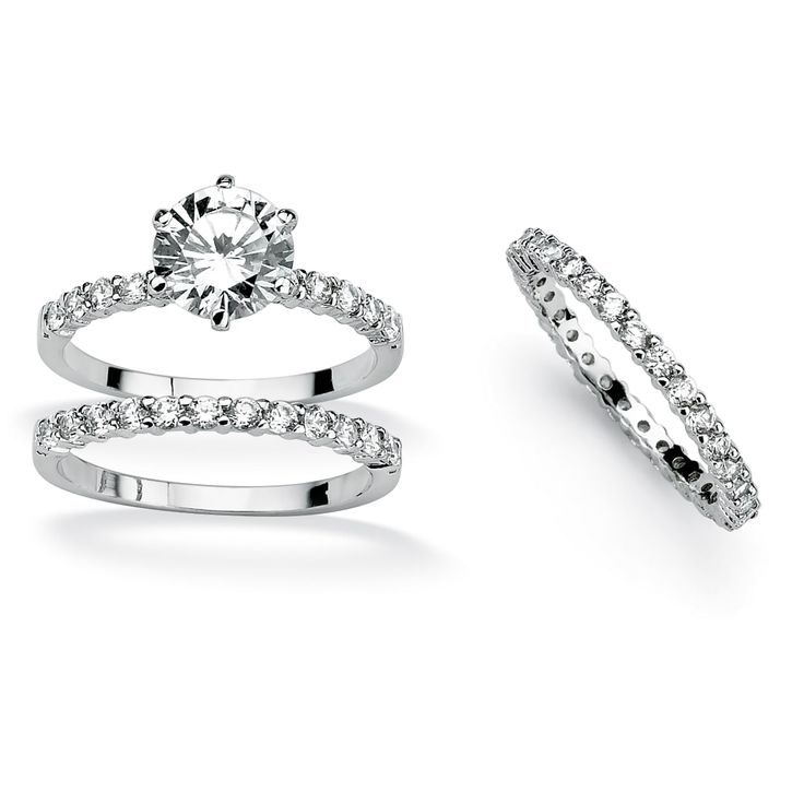 Palm Beach Jewelry 3 Piece 3.75 TCW Round Cubic Zirconia Bridal Ring Set in Platinum over Sterling Silver Cla