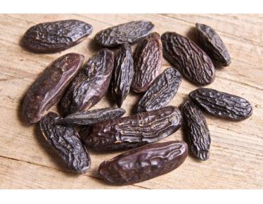 Tonkabohne - Wird auch als Gewürz verwendet in aromatischen Süßspeisen. Ein herrlicher Duft mit Spuren von Cumarin, Vanille, Zimt und etwas chilliartigem. Am besten auf der Muskatreibe fein reiben. Wirkung: erotisierend, aphrodisierend, wärmend, umhüllend, schützend, tröstend, erfreut die Seele!