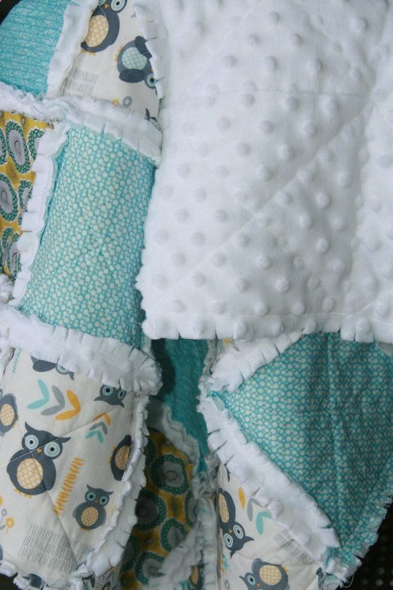 Baby Boy Rag Quilt Minky Owl Quilt Blue Gray Nursery by justluved