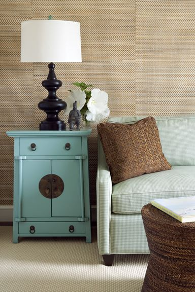natural wallpaper living room with turquoise chinese chest: Grass Clothing Wallpapers, Living Rooms, Side Tables, Bathroom Colors, Color Schemes, Colors Schemes, Grasscloth Wallpapers, End Tables, Grass Cloth Wallpaper