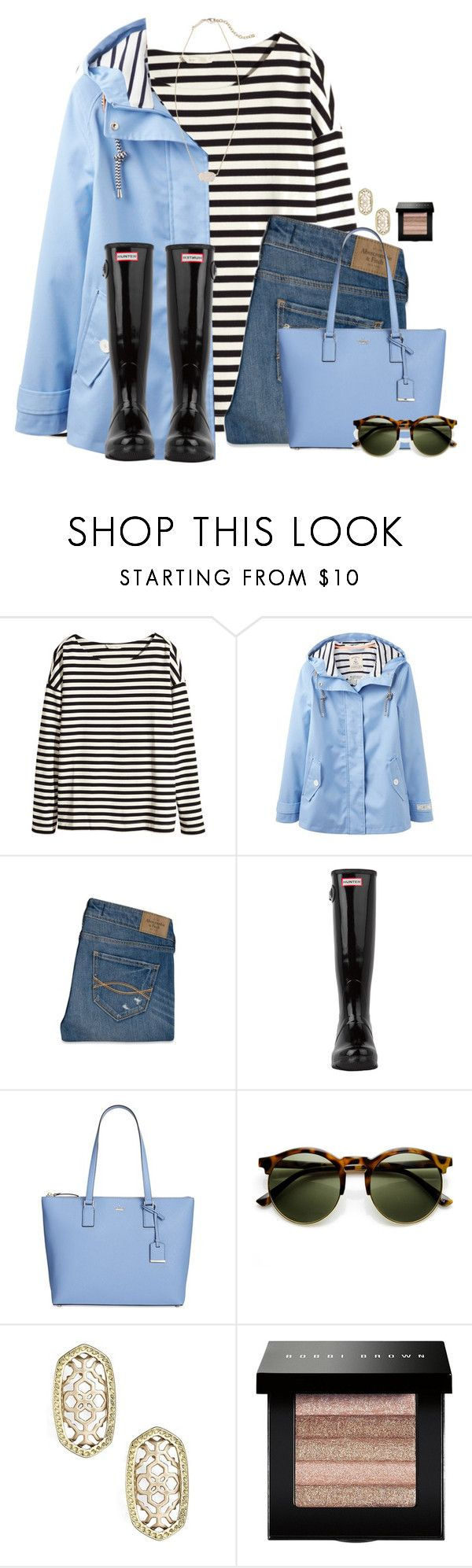 """""""~after the rain theres always a rainbow~"""" by flroasburn on Polyvore featuring H&M, Joules, Abercrombie & Fitch, Hunter, Kate Spade, Kendra Scott and Bobbi Brown Cosmetics"""
