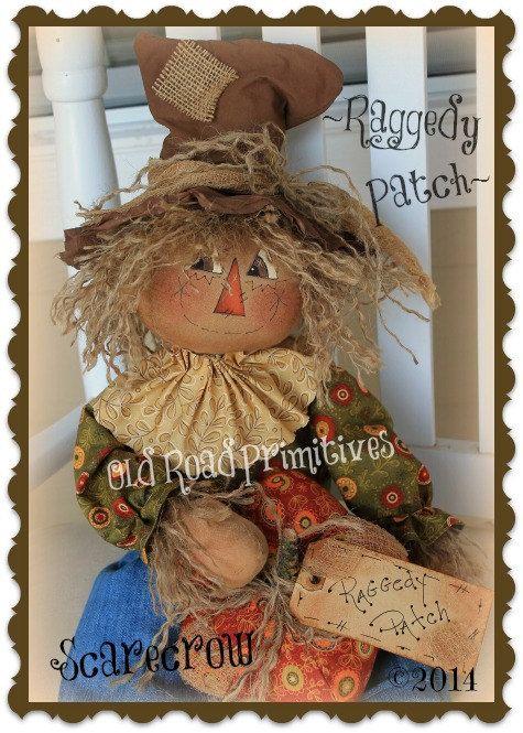 Primitive Raggedy Patch Fall Scarecrow e by OldRoadPrimitives