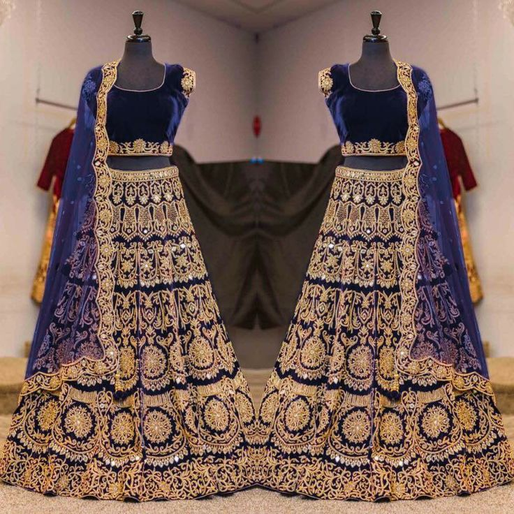 Navy Blue velvet lengha choli with zari embroidery and mirror work all over. It is paired with a Navy Blue net cutwork dupatta with mirror work. . . Available only @ 3400 INR  Book the look @ WhatsApp : +91 9054562754 ❤️ Cash On Delivery In India +  Ship to worldwide