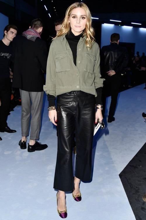 Olivia Palermo wearing Tibi Anesia Leather Cropped Jeans in Black, Topshop Authentic Washed Khaki Jacket and Giambattista Valli Pumps