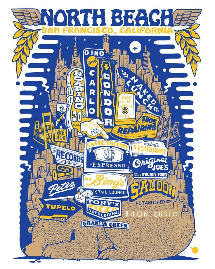 mrjeremyfish A brand new 2nd edition of this North Beach neighborhood screen print is available now at the Coit Tower gift shop, and Schein & Schein 1435 Grant street. Warriors color combo in a closed edition of 100. #northbeach #coittower
