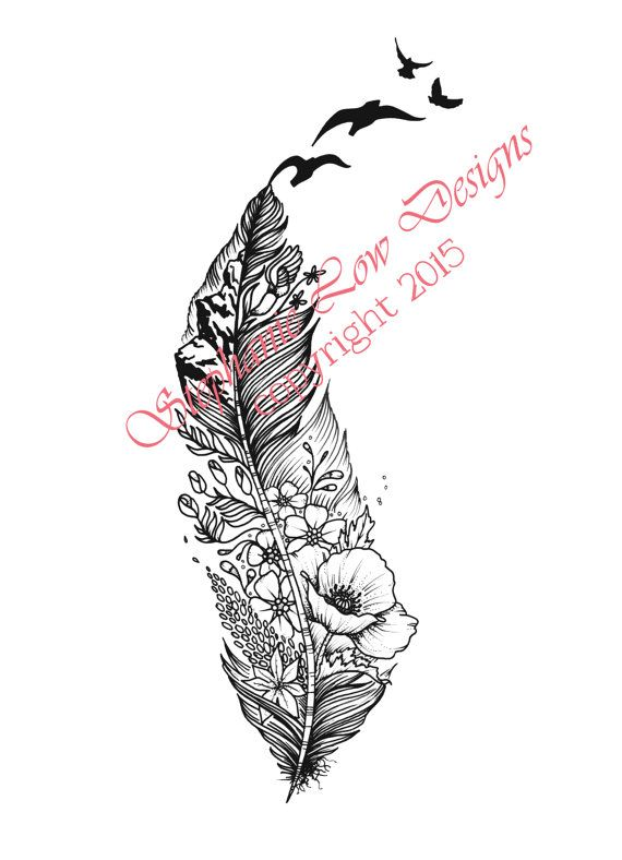 Custom Tattoo Illustration by Stephanie Low Designs; A lovely little feather with a garden of poppies, forget me nots & a view of a glorious mountain range https://www.facebook.com/StephanieLowDesigns kepeann@gmail.com