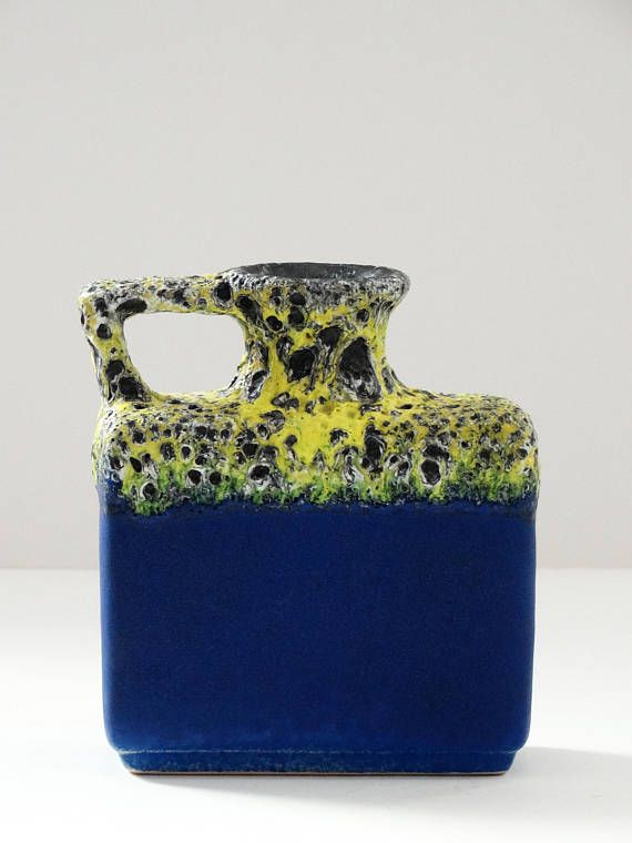 Jopeko Mid Century Rare Electric Blue & Yellow Fat Lava West