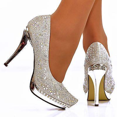 Damen-Super-Glanzend-Crystal-Silber-Plateau-Absatz-Pumps-Abend-Schuhe-Grose