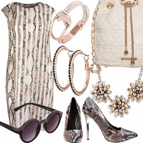 """La chiave dell'eleganza? lo Stile.  La moda italiana è famosa in tutto il mondo anche per i le sue linee pure, diritte, dai colori neutri che lasciano spazio alla bellezza innata della donna """" born in  Italy """". In questo outfit è presente una elegante combinazione tra vestito ed accessori con un gusto armonioso per dare risalto alla propria personalità. Il beige, il bianco ed il nero  sono in questo outfit  i toni base essenziali.. Poi un paio di scarpe con stampa in pitone,  decisamente…"""