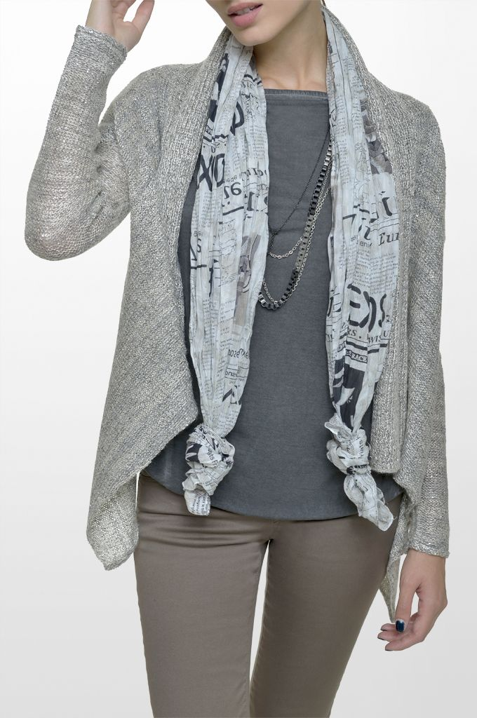 Sarah Lawrence - asymmetrical open placket cardigan, short sleeve blouse, five pocket straight leg pant, printed scarf.