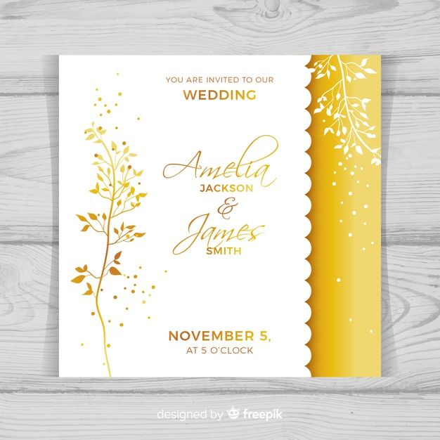 Elegant Wedding Invitation Card Template Free Vector