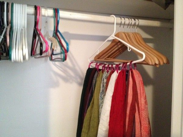 Handy Scarf Organizer from Shower Rings - 150 Dollar Store Organizing Ideas and Projects for the Entire Home
