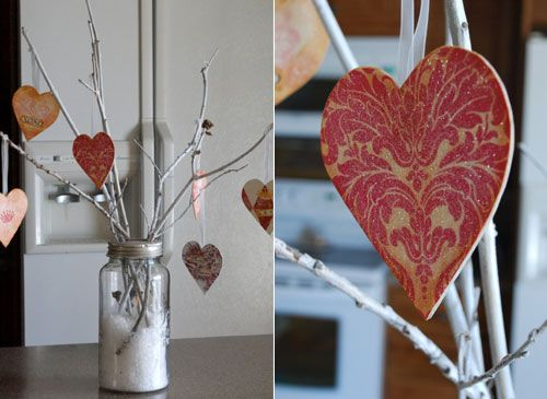 Like the twig idea for center pieces ... would hang photos and quotes from glittered branches