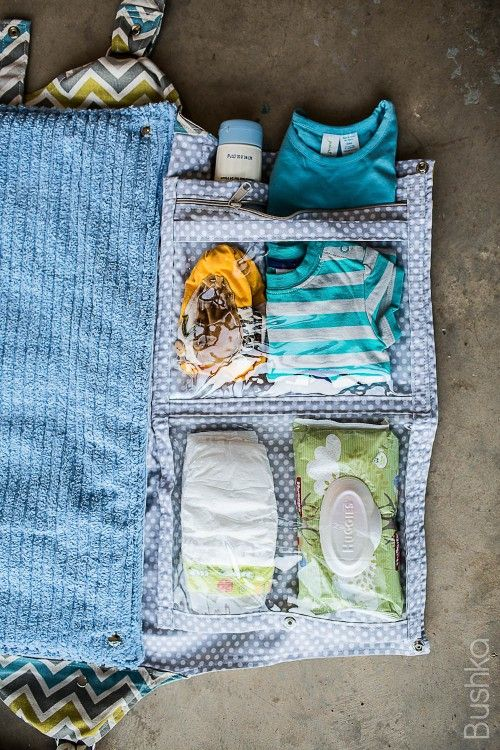 Aqua Chevron   Central Park Diaper Bag