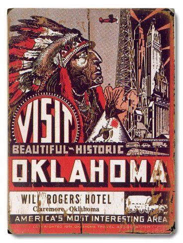 Visit Oklahoma Will Rogers Hotel Placa de madeira