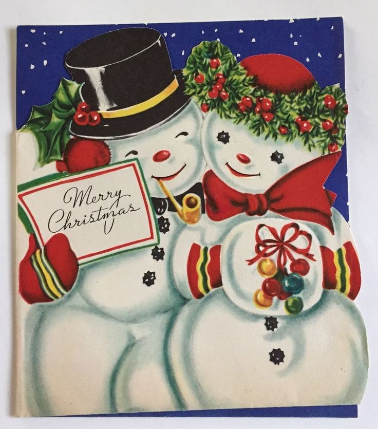 Vintage Christmas Greeting Card Snowman and Snowlady