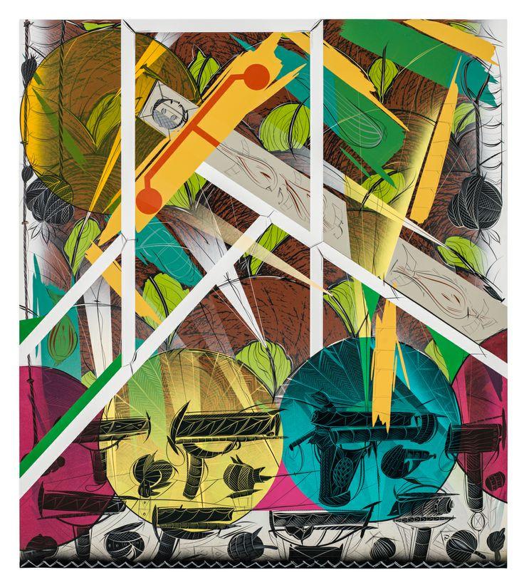 Bernier/Eliades Gallery | Lari Pittman |Untitled #4, 2013 |Cel-vinyl, spray enamel on prepared panel |137 x 122 cm | Phtoto by Fredric Nilsen