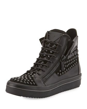 Men\'s Beaded Leather High-Top Sneaker, Black by Giuseppe Zanotti at Neiman Marcus.