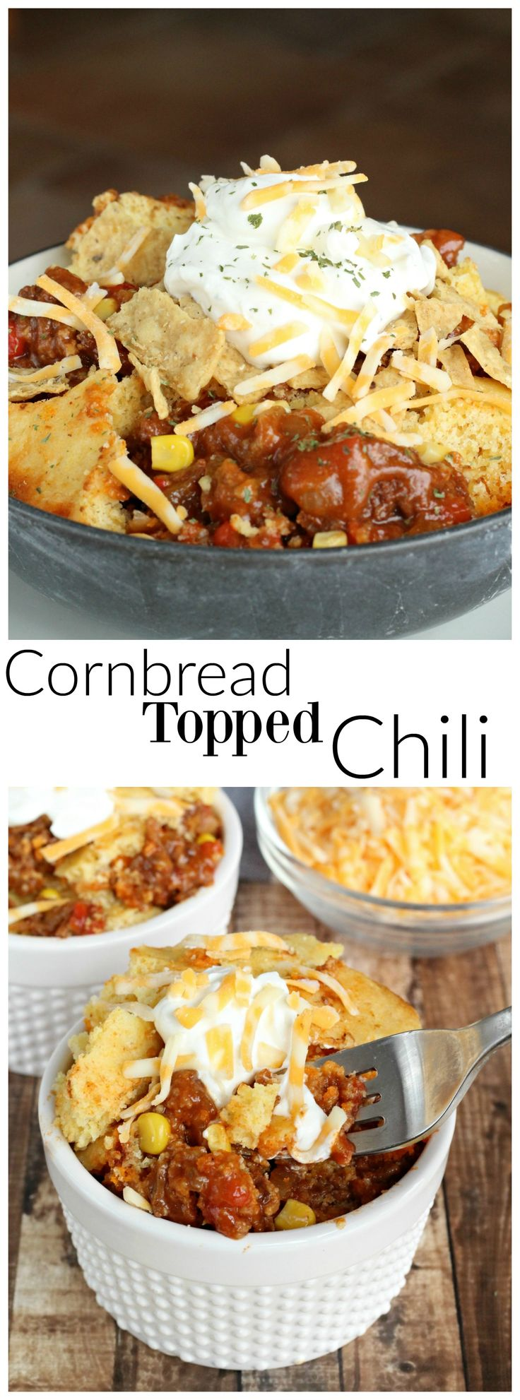 Chili and cheesy cornbread cooked together in a slow cooker.