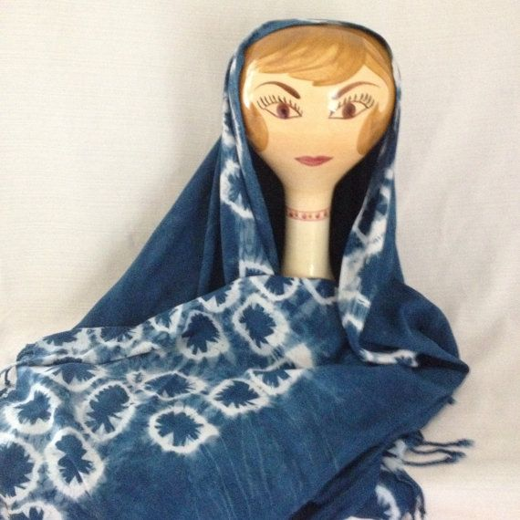 Shibori Indigo dyed scarf