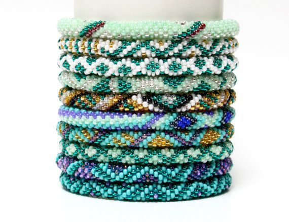 Wholesale Glass Bead Nepal Bracelets Teal Themed 10 PC | Seed Bead Roll On Bracelets Handmade | Beadwork Bangles | Colorful Festival Jewelry