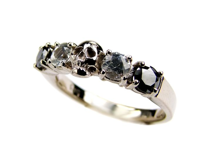 White Gold Skull Wedding Set Ring Black Diamond White Sapphire White Gold Engagement Ring Goth Psychobilly Wedding Band Jewel Ring All Sizes by KipkalinkaJewels on Etsy https://www.etsy.com/listing/202495952/white-gold-skull-wedding-set-ring-black