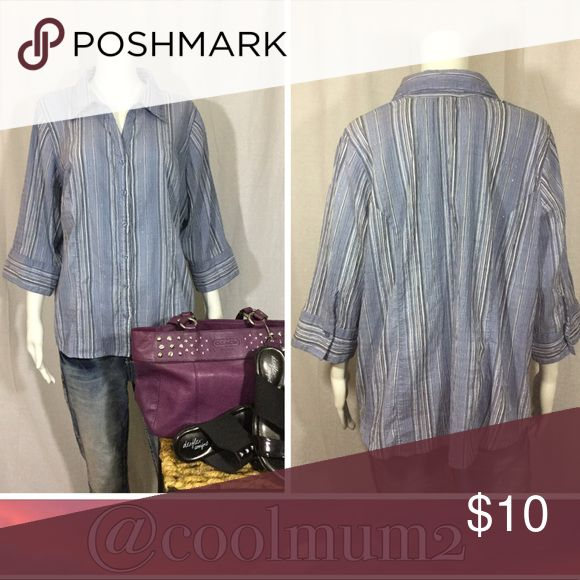 """🆕Butterfly Stretch Top Butterfly Stretch Top 18/20 Woman's 68% Cotton 30% Polyester 1% Spandex 1% Other Fibers Thin pinstriped glittery lines 28"""" Long (top of shoulder to bottom of hem-laying flat) Butterfly Stretch Tops Button Down Shirts"""