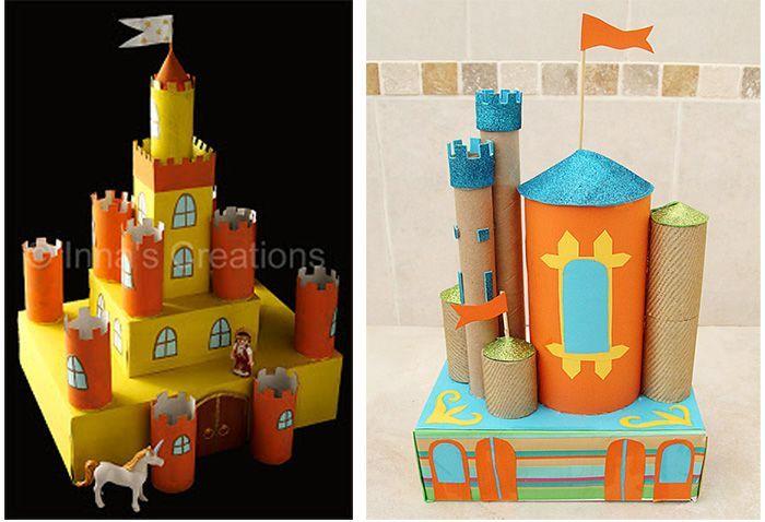 castillos con rollos de carton