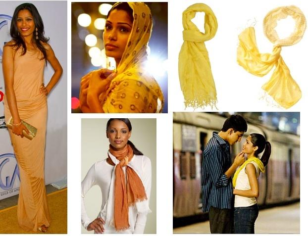 Freida Pinto's yellow scarves