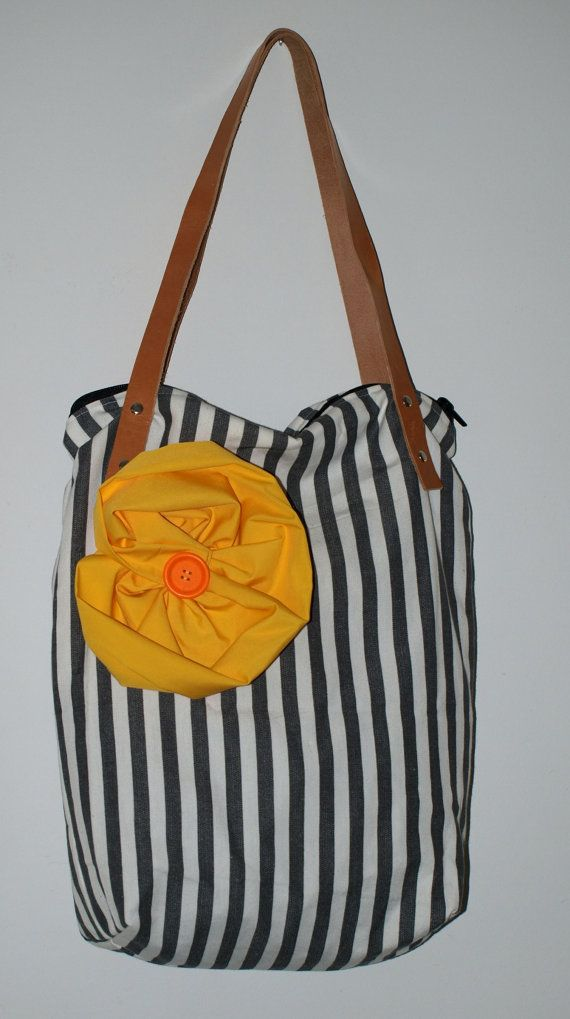 Medium Summer bag / Tote bag / cotton bag/ gray stripes/ by Ulook, €25.00