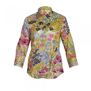 A beautiful green print shirt which depicts a blooming garden scene with hints of pink, blue, orange and purple. The style is tailored at the waist, but a classic fitting shirt and is the perfect garment for your Summer wardrobe. Features include 3/4 sleeves, button through placard and wolfhound embroidery on the chest.