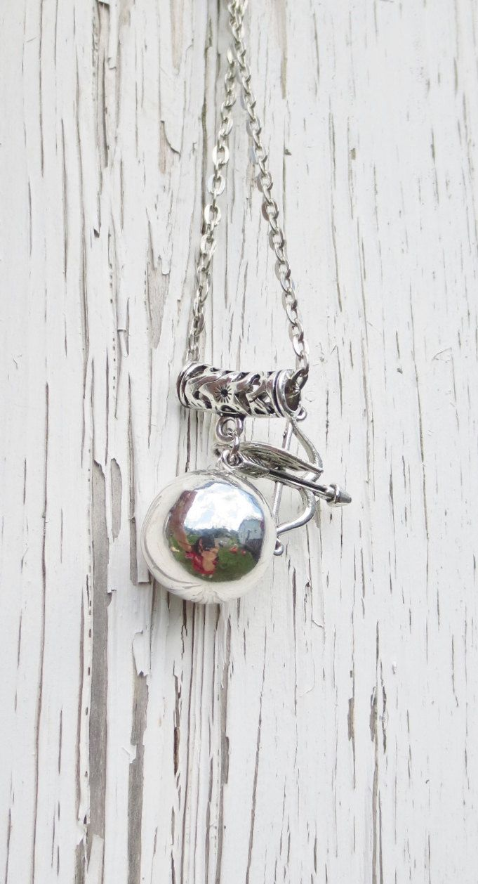 #bola #necklace #bolanecklace #angelcaller https://www.etsy.com/ca/listing/201087055/18mm-silver-harmony-ball-necklace