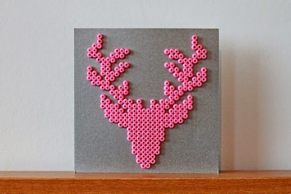 Christmas Card, Deer, Jul, Julkort, Hama, Pyssla, DIY, Pink, Silver, Christmas, Bead