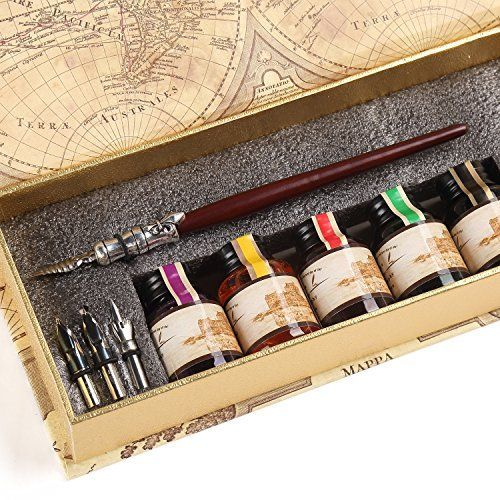 GC QUill Calligraphy Pen Set Writing Case with 5 Bottle I