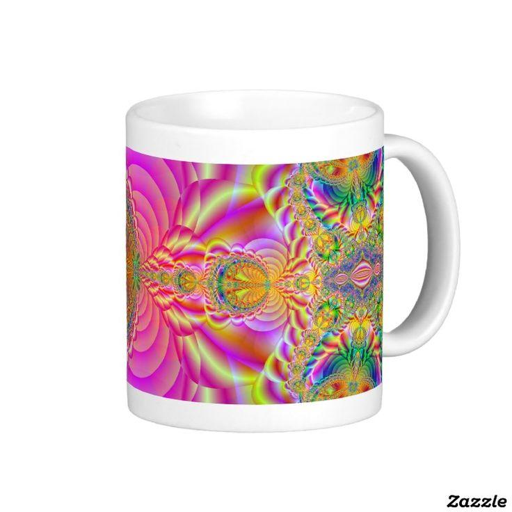 Colorful fractal coffee mug